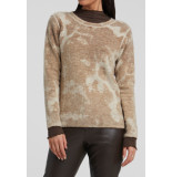 YAYA 1000339-023 alpaca blend round neck sweater with inside out print