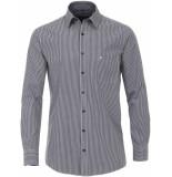Casamoda Heren overhemd wit ruit dobby kent comfort fit