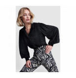 Alix The Label 209971879 ladies woven zebra jacquard blouse