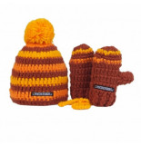 Poederbaas Muts kids beanie + mittens brown yellow