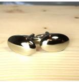 Baleinen Manchetknopen oval silver front