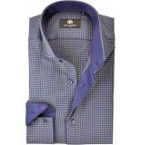 Circle of Gentlemen Overhemd blauw en pied de poule cutaway slim fit