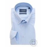 Ledûb Heren overhemd wit gestreept button down modern fit