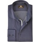 Circle of Gentlemen Heren overhemd delmer donkerblauw met print cutaway slim fit