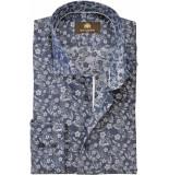 Circle of Gentlemen Heren overhemd dari donkerblauw met bloem print cutaway slim fit