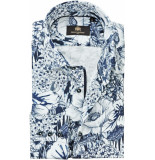 Circle of Gentlemen Heren overhemd didier wit met bloem print cutaway slim fit