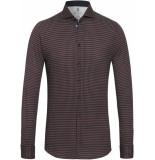 Desoto Heren overhemd rode 70s print cutaway jersey slim fit