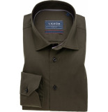Ledûb Heren overhemd twill semi spread stretch modern fit