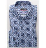 Eterna Heren overhemd blauw en bruine print comfort modern fit