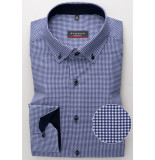 Eterna Overhemd blauw geruit twill button down modern fit