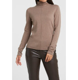 YAYA 1000331-022 cotton blend high neck sweater with seam at front