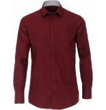 Venti Heren overhemd bordeaux poplin contrast kent modern fit