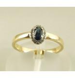 Christian 14 karaat gouden ring met saffier en diamanten