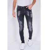 True Rise Stretch jeans met verfspatten slim fit