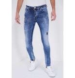 True Rise Jeans met paint drops slim fit