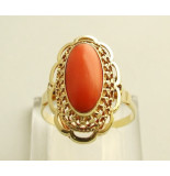 Christian Gouden vintage ring met bloedkoraal