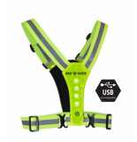 Bee Sports Led harness usb lime 18800-101