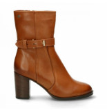 Fred de la Bretoniere Women ankle boot 8 cm soft nappa leather fur lining cognac