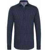 Desoto Heren overhemd blauw white print cutaway jersey