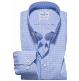 Emanuel Berg Heren overhemd fijn geruit button-down twill modern fit