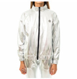 Dolly noire Felpa donna silver chrome zip sw401