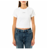 Calvin Klein T-shirt donna micro branding crop rib top j20j215699.yaf