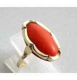 Christian Vintage gouden bloedkoraal ring