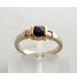 Christian Bicolor gouden ring met diamant en saffier
