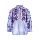 antik batik Patty blouse blauw beige blouse