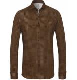 Desoto Heren overhemd met oranje print jersey slim fit