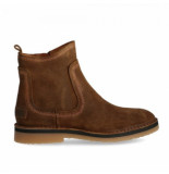 Shabbies Women ankle boot with zipper 2 cm waxed suede brown
