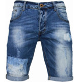 Enos Korte broeken slim fit denim square borduur