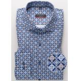 Eterna Heren overhemd blauw en bruine print cutaway modern fit