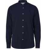 Les Deux Karl seersucker mandarin shirt dark navy