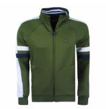 Twinlife heren vest sweat groen wit