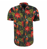 Twinlife heren korte mouw overhemd floral -
