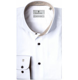 Thomas Maine Heren overhemd beige contrast fine twill tailored fit