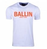 Ballin New York heren t-shirt regular fit wit neon oranje