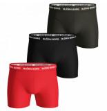 Björn Borg 3-pack boxers solids rood/zwart/bruin