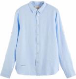 Scotch & Soda Garment-dyed linen shirt blue