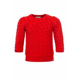 Looxs Revolution Rode badstof sweater hartjes voor meisjes in de kleur