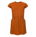 Looxs Revolution Jersey broderie anglaise jurkje oker kleur voor meisjes in de kleur
