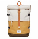 Sandqvist Rugzak bernt multi yellow sand olive with natural leather