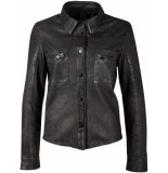 Gipsy Akesha leder blouse jasje black