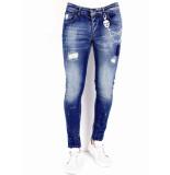 True Rise Jeans met verfspatten 0000