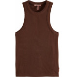 Maison Scotch Racer back tank top with small scal brown