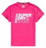 Superdry core sport graphic tee roze-wit