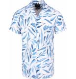 Gabbiano Shirt ss white & navy printed