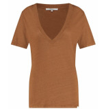 Penn & Ink T-shirt korte mouwen en diepe v-hals bruin