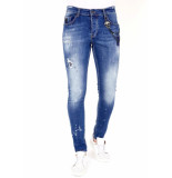 Local Fanatic Slim fit jeans verfspatten 1035